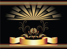 Background with ornament and golden ribbon. Stock Photography