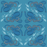 Background with ornament of octopus and fish Royalty Free Stock Image