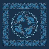 Background with ornament of octopus and fish Stock Images