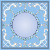 Background with ornament with pearls and precious stones Royalty Free Stock Image
