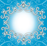 Background with ornament with pearls and silver tw Stock Image