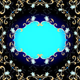 Background  ornament of precious stones and gold. Of the background and ornament of precious stones and gold Stock Photo