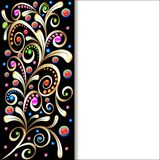 Background with ornament with swirls of gold and precious stones Stock Photography