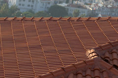 Background ornament terracotta red tiles on roof in the Mediterranean Royalty Free Stock Photos