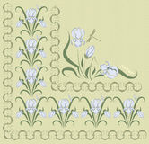 Background ornamented with blue irises Stock Photo
