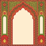 Background ornamented oriental patterned image in the form of an arch. Vector ornamented eastern arch patterns for design layouts. Primary colors: green, red Vector Illustration