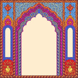 Background ornamented oriental patterned image in the form of an arch. Vector ornamented eastern arch patterns for design layouts. Primary colors: blue, red Royalty Free Illustration