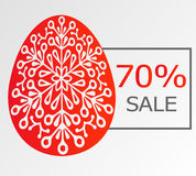 Background with ornamentical egg and sale. Royalty Free Stock Photography