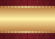 Background with ornaments. Maroon and gold background with ornaments Stock Image