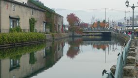 Background of otaru canal in japan the winter evenning stock footage