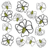Background outlines flowers Stock Images