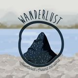 Background outside forest scenary with lake and wanderlust logo rocks Stock Images