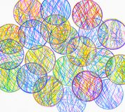 Background of overlapping circles. Background created by an array of circles filled with colorful scribbles and overlapping Stock Image