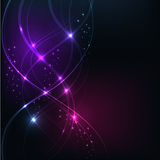 Background with Overlaying wavy lines with starson dark backgrou Royalty Free Stock Photos