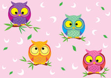 Background Owl. Vector seamless background with fun colorful owls Stock Images