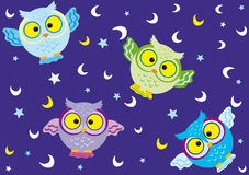 Background Owl. Vector seamless background with fun colorful owls Royalty Free Stock Photography