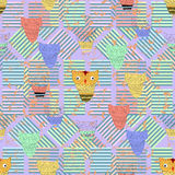 Background with owls and stripes in bright colors.Seamless. Stock Photography