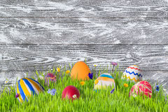Background with Painted Eggs Royalty Free Stock Photography