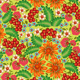 background painted with flowers and berries Stock Photography