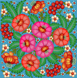 background painted with flowers and berries Royalty Free Stock Images
