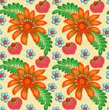 Background painted with flowers and berries Royalty Free Stock Photos