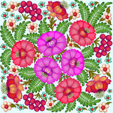 Background painted with flowers and berries. Illustration background painted with flowers and berries Royalty Free Stock Images
