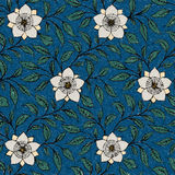 Background Painted Flowers On Blue Stock Images