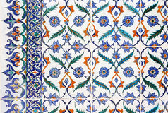 Background of painted tiles in Topkapi, Istanbul Royalty Free Stock Images
