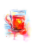 Background with painted watercolor tea in glass Stock Images