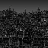 Background of painted white outline of city buildings Royalty Free Stock Images