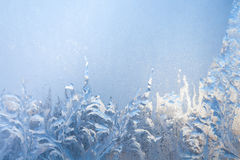 Background of painting on the frozen window by frost - nobody Royalty Free Stock Photos
