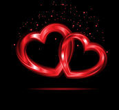Background of pair of valentine hear. Stock Image