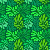 Background with palm leaves. Tropical seamless pattern with mons Stock Images