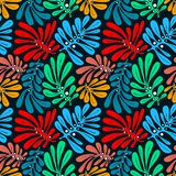 Background with palm leaves. Tropical seamless pattern with mons Royalty Free Stock Photos