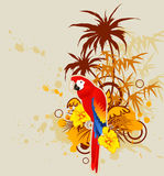 Background with palm and parrot Stock Photo