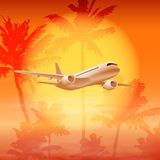 Background with palm trees and airplane in the sky Royalty Free Stock Photography