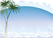 Background with а palm trees on а coast of ocean Royalty Free Stock Photos