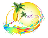 Background with palms. Colorful background with palms and waves Stock Photo