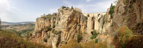Background panoramic view of Ponte Nuevo in Ronda Royalty Free Stock Images