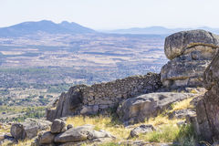 Background panoramic view of the surrounding valley from the walls of the monastery Templar Royalty Free Stock Photography