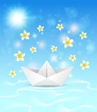 Background with paper boat and flowers Royalty Free Stock Images