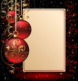 Background with paper and Christmas balls. Background with stars and Christmas balls, illustration Royalty Free Stock Image