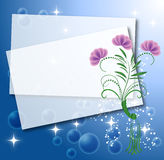 Background with paper and flowers Royalty Free Stock Image