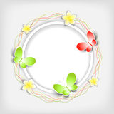 Background with paper flowers and butterfly Stock Photo