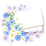 Background with paper and flowers. For insert text or photo stock illustration