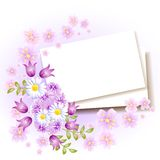 Background with paper and flowers. For insert text or photo royalty free illustration
