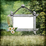 Background paper with frame and flowers Stock Photos