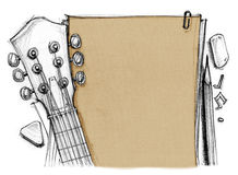 Background paper with guitar and pick. Background book rubber, pencil, note with guitar crop at headstock, tuning pegs, fret, finger and pick, Hand drawn rough Stock Photos