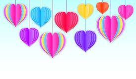 Background with paper hearts Stock Photography