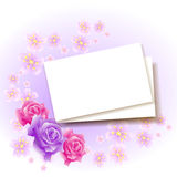 Background with paper and roses Royalty Free Stock Photos